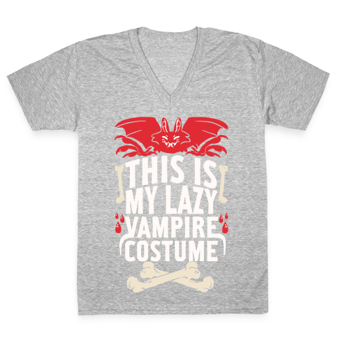 This Is My Lazy Vampire Costume V-Neck Tee Shirt