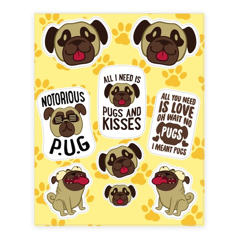 Pug Sticker and Decal Sheet