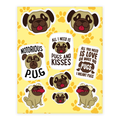 Pug  Sticker/Decal Sheet