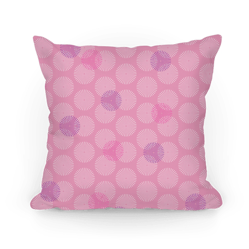 Pink Radial Mandalas Pattern Pillow