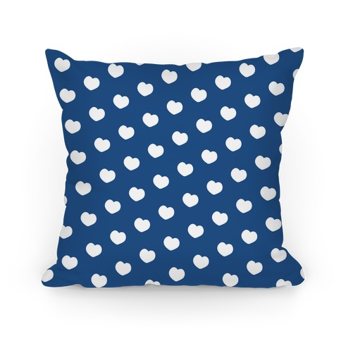 Blue Polka Dot Hearts Pillow