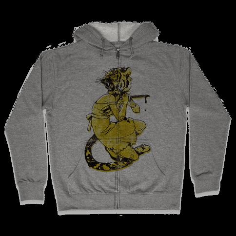 Tiger Woman Zip Hoodie