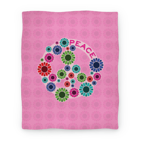 Floral Peace Sign Blanket