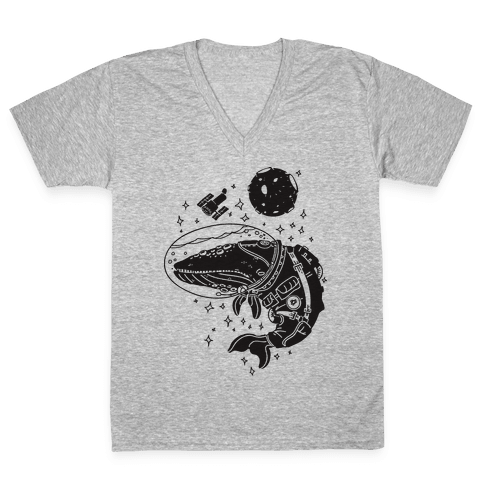 Space Whale  V-Neck Tee Shirt