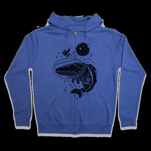 Space Whale  Zip Hoodie