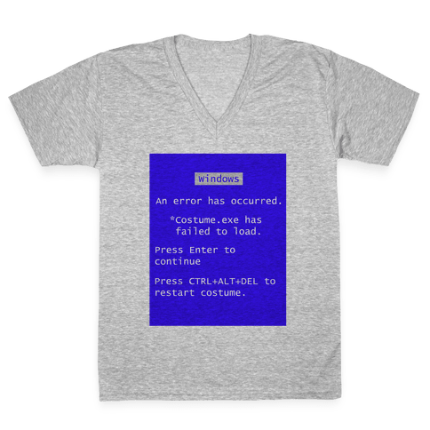 Blue Screen of Death Costume V-Neck Tee Shirt
