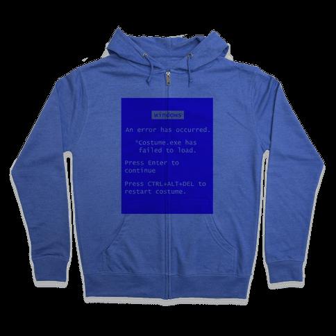 Blue Screen of Death Costume Zip Hoodie