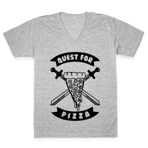 Quest for Pizza V-Neck Tee Shirt