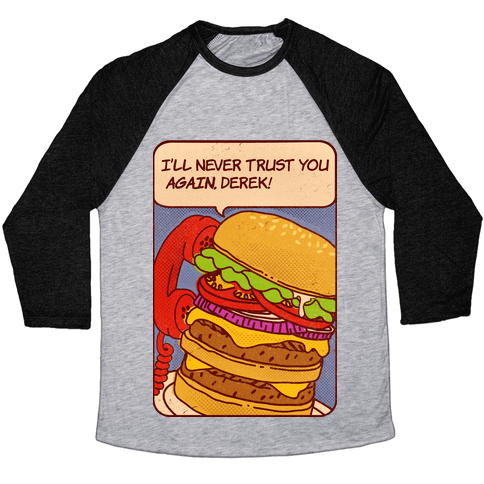 Burger Pop Art Comic Panel Baseball Tee