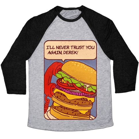 Burger Pop Art Comic Panel Baseball Tee