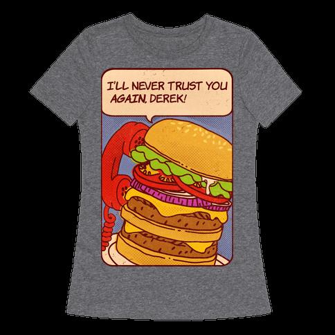 Burger Pop Art Comic Panel Womens T-Shirt