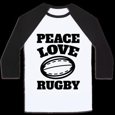 Peace Love Rugby Baseball Tee