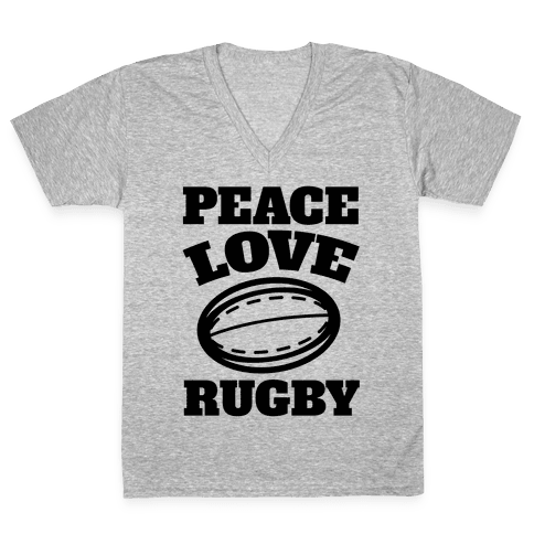 Peace Love Rugby V-Neck Tee Shirt