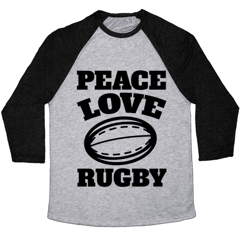 Peace Love Rugby Baseball Tee