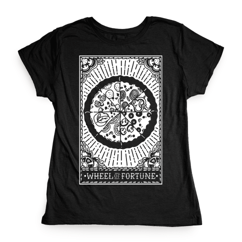 Pizza Wheel of Fortune Tarot Card Womens T-Shirt