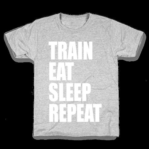Train Eat Sleep Repeat Kids T-Shirt