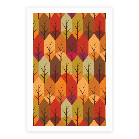 Geometric Fall Leaf Pattern Poster