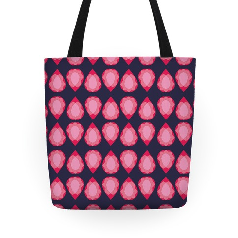 Pink Teardrop Gem Pattern Tote