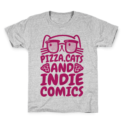 Pizza, Cats and Indie Comics Kids T-Shirt