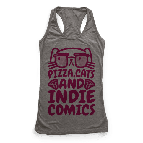 Pizza, Cats and Indie Comics Racerback Tank Top