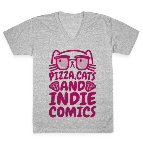 Pizza, Cats and Indie Comics V-Neck Tee Shirt