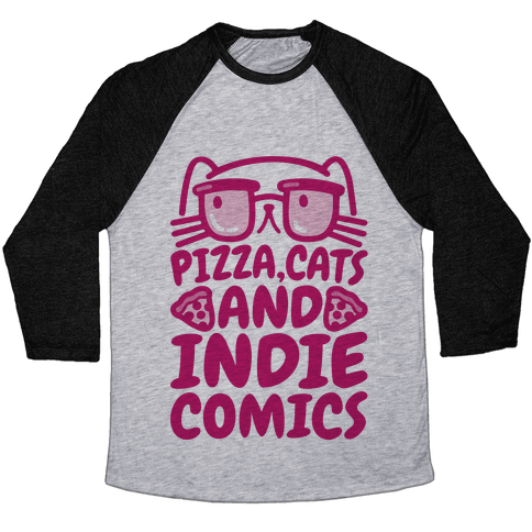 Pizza, Cats and Indie Comics Baseball Tee