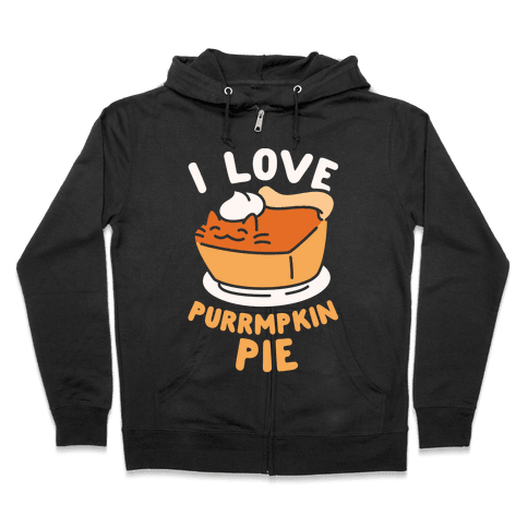 I Love Purrmpkin Pie Zip Hoodie