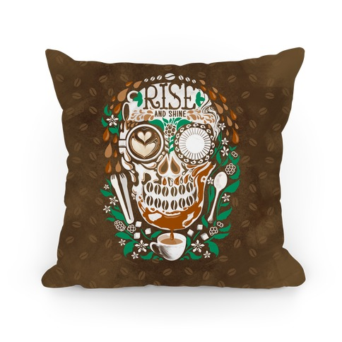 Rise and Shine Coffee Skull Pillow