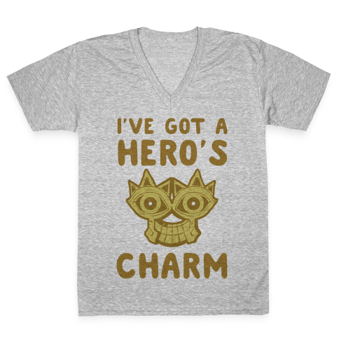 I've Got A Hero's Charm V-Neck Tee Shirt