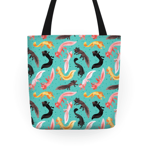 Cute Bright Axolotl Pattern Tote