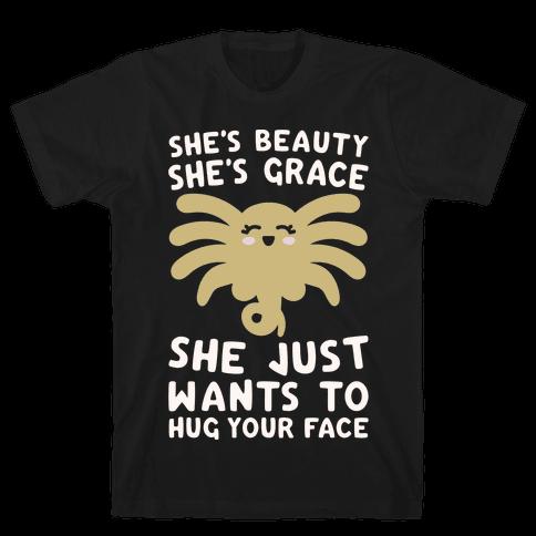 She's Beauty She's Grace Facehugger Parody White Print Mens T-Shirt