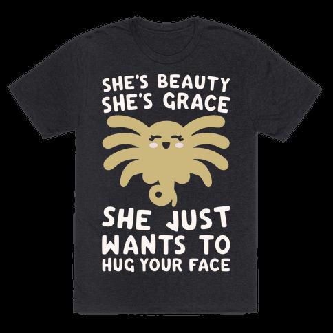 She's Beauty She's Grace Facehugger Parody White Print
