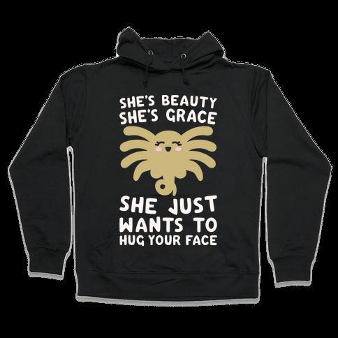 She's Beauty She's Grace Facehugger Parody White Print Hooded Sweatshirt