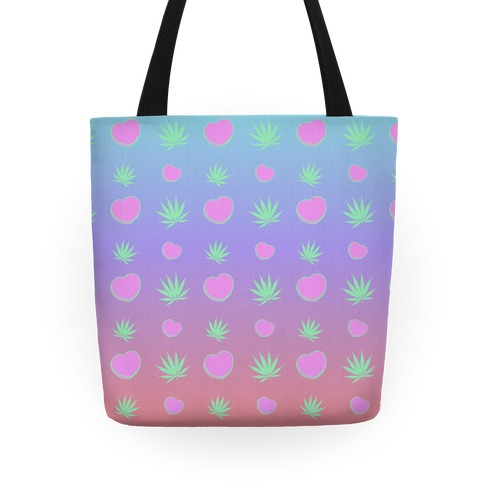 Weed and Hearts Pastel Ombre Pattern Tote
