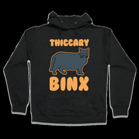 Thiccary Binx Parody White Print Hooded Sweatshirt