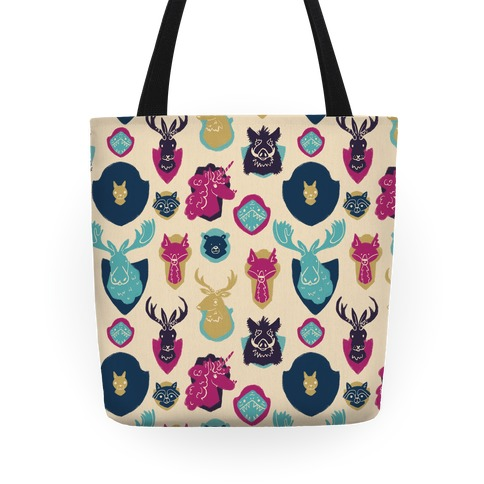 Fantasy and Woodland Faux Taxidermy Animals Pattern Tote