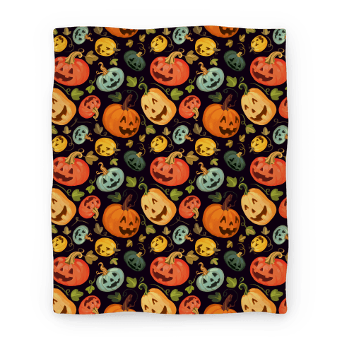 Happy Autumn Pumpkin Pattern Blanket