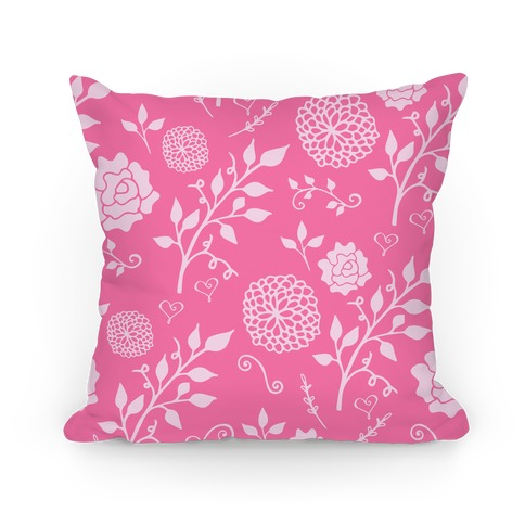 Pink Whimsical Floral Pattern Pillow
