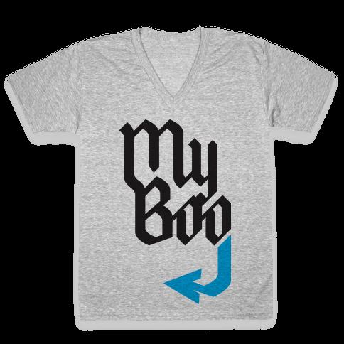 My Boo( Blue half) V-Neck Tee Shirt