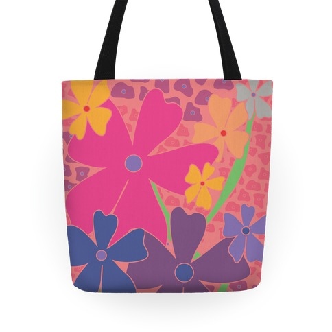 Pink Happy Flowers Pattern Tote