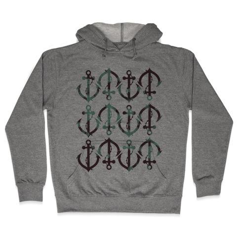Anchor Pattern Hooded Sweatshirt