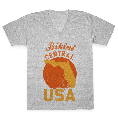 Bikini Central USA (Florida) V-Neck Tee Shirt