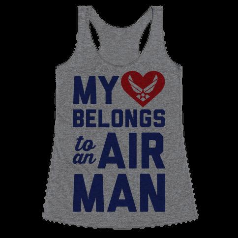 My Heart Belongs To An Airman Racerback Tank Top