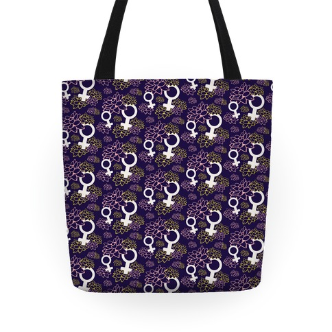 Female Symbol and Lotus Flowers Pattern Tote