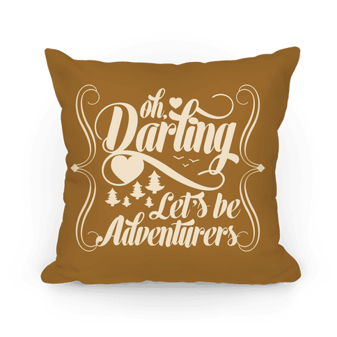 Oh Darling, Let's Be Adventurers Pillow (Yellow Ochre) Pillow