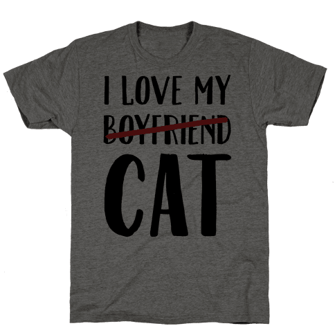 I Love My Boyfriend (Cat) Mens T-Shirt