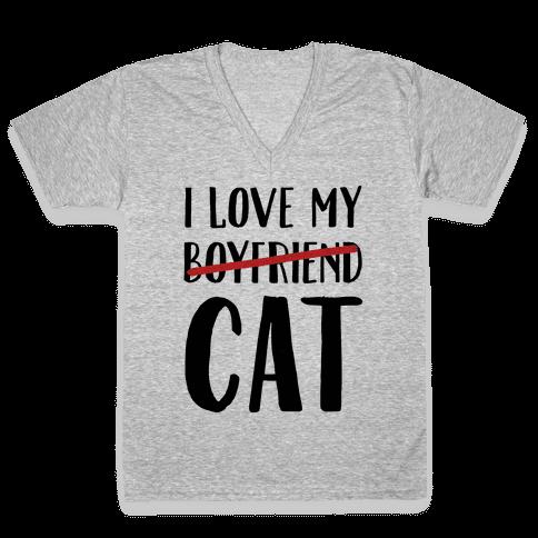 I Love My Boyfriend (Cat) V-Neck Tee Shirt