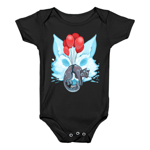 Red Balloon Cat Explorer Baby Onesy
