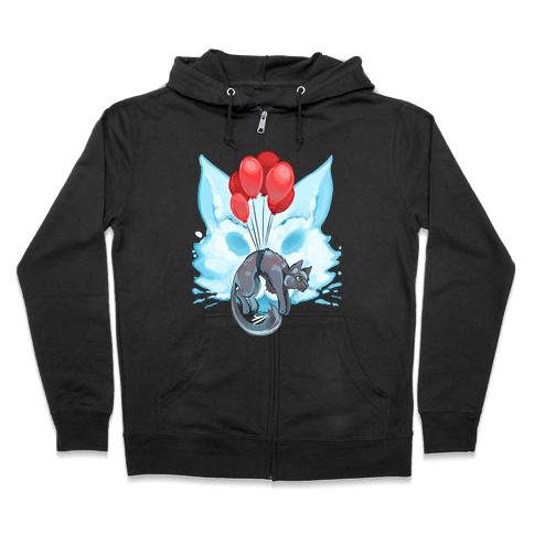 Red Balloon Cat Explorer Zip Hoodie