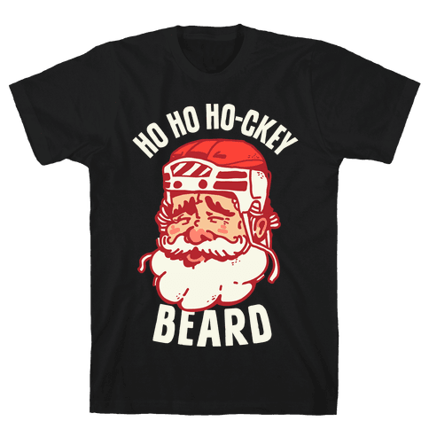 Ho Ho Ho-ckey Beard Mens T-Shirt